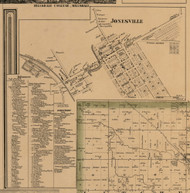Jonesville, Michigan 1857 Old Town Map Custom Print - Hillsdale Co.