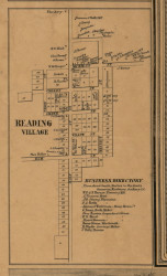 Reading Village, Michigan 1857 Old Town Map Custom Print - Hillsdale Co.