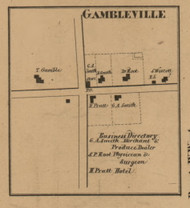 Gambleville, Michigan 1857 Old Town Map Custom Print - Hillsdale Co.