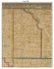 Logan, Indiana 1860 Old Town Map Custom Print - Dearborn Co.