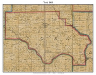 York, Indiana 1860 Old Town Map Custom Print - Dearborn Co.