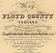 Map Cartouche, Floyd Co. Indiana 1859 Old Town Map Custom Print