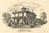 Gordon Residence, New Albany, Indiana 1859 Old Town Map Custom Print - Floyd Co.