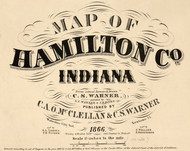 Map Cartouche, Hamilton Co. Indiana 1866 Old Town Map Custom Print