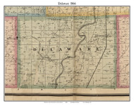 Delaware, Indiana 1866 Old Town Map Custom Print - Hamilton Co.
