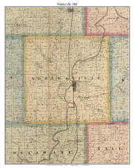 Noblesville,Indiana 1866 Old Town Map Custom Print - Hamilton Co.