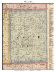 Wayne,Indiana 1866 Old Town Map Custom Print - Hamilton Co.