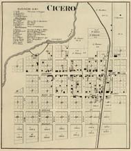 Cicero Village, Jackson, Indiana 1866 Old Town Map Custom Print - Hamilton Co.