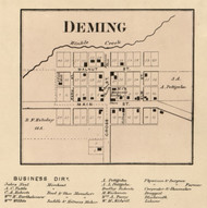 Deming Village, Jackson, Indiana 1866 Old Town Map Custom Print - Hamilton Co.