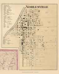 Noblesville Village, Noblesville, Indiana 1866 Old Town Map Custom Print - Hamilton Co.