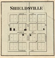 Shieldsville Village, (Not Determined), Indiana 1866 Old Town Map Custom Print - Hamilton Co.