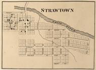 Strawtown Village, White River, Indiana 1866 Old Town Map Custom Print - Hamilton Co.