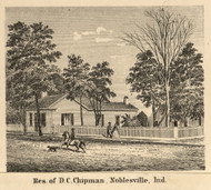 Chipman Residence, Noblesville, Indiana 1866 Old Town Map Custom Print - Hamilton Co.