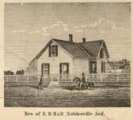 Hall Residence, Noblesville, Indiana 1866 Old Town Map Custom Print - Hamilton Co.