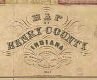 Map Cartouche, Henry Co. Indiana 1857 Old Town Map Custom Print