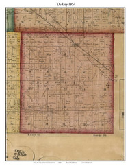 Dudley, Indiana 1857 Old Town Map Custom Print - Henry Co.