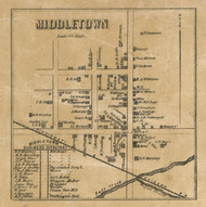Middletown Village, Fall Creek, Indiana 1857 Old Town Map Custom Print - Henry Co.