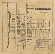 Greensboro Village, Greensboro, Indiana 1857 Old Town Map Custom Print - Henry Co.