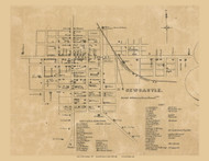 New Castle Village, Henry, Indiana 1857 Old Town Map Custom Print - Henry Co.