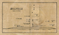Millsville Village, Liberty, Indiana 1857 Old Town Map Custom Print - Henry Co.