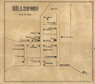 Hillsboro Village, Prairie, Indiana 1857 Old Town Map Custom Print - Henry Co.