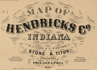 Map Cartouche, Hendricks Co. Indiana 1865 Old Town Map Custom Print