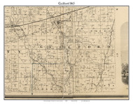 Guilford, Indiana 1865 Old Town Map Custom Print - Hendricks Co.