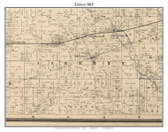 Liberty, Indiana 1865 Old Town Map Custom Print - Hendricks Co.