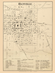 Danville Village, Centre, Indiana 1865 Old Town Map Custom Print - Hendricks Co.