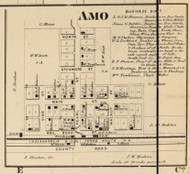 Amo Village, Clay, Indiana 1865 Old Town Map Custom Print - Hendricks Co.