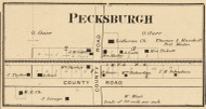 Pecksburgh Village, Clay, Indiana 1865 Old Town Map Custom Print - Hendricks Co.