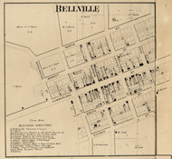 Bellville Village, Liberty, Indiana 1865 Old Town Map Custom Print - Hendricks Co.
