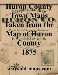 Map Cartouche, Huron Co. Michigan 1875 Old Town Map Custom Print - Huron Co.
