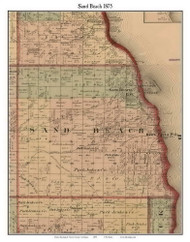 Sand Beach, Michigan 1875 Old Town Map Custom Print - Huron Co.