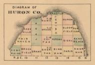 Huron County Diagram, Michigan 1875 Old Town Map Custom Print - Huron Co.