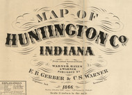 Map Cartouche, Huntington Co. Indiana 1866 Old Town Map Custom Print