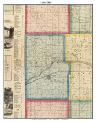 Dallas, Indiana 1866 Old Town Map Custom Print - Huntington Co.