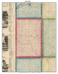 Polk, Indiana 1866 Old Town Map Custom Print - Huntington Co.