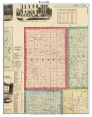 Warren, Indiana 1866 Old Town Map Custom Print - Huntington Co.