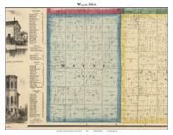 Wayne, Indiana 1866 Old Town Map Custom Print - Huntington Co.