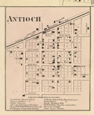 Antioch Village, Dallas, Indiana 1866 Old Town Map Custom Print - Huntington Co.