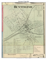 Huntington Village, Huntington, Indiana 1866 Old Town Map Custom Print - Huntington Co.