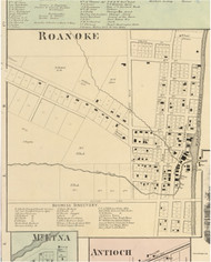 Roanoke Village, Jackson, Indiana 1866 Old Town Map Custom Print - Huntington Co.