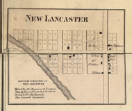 New Lancaster Village, Lancaster, Indiana 1866 Old Town Map Custom Print - Huntington Co.