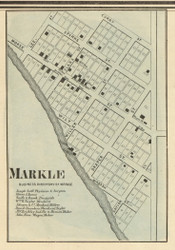 Markle Village, Rock Creek, Indiana 1866 Old Town Map Custom Print - Huntington Co.