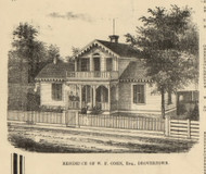 Oden Residence, Dovertown, Huntington, Indiana 1866 Old Town Map Custom Print - Huntington Co.