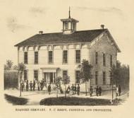 Roanoke Seminary, Jackson, Indiana 1866 Old Town Map Custom Print - Huntington Co.
