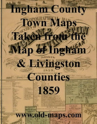 Map Cartouche, Ingham Co. Michigan 1859 Old Town Map Custom Print - Ingham Co.