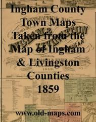 Map Cartouche, Ingham Co. Michigan 1859 Old Town Map Custom Print - Ingham Co.