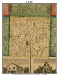 Leslie, Michigan 1859 Old Town Map Custom Print - Ingham Co.